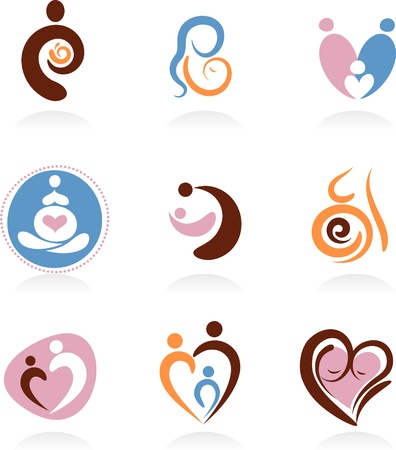 madre y bebe: Colecci�n de iconos de la maternidad Vectores
