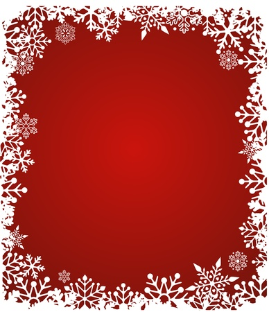 snow flakes: Christmas red background with snowflakes pattern Illustration