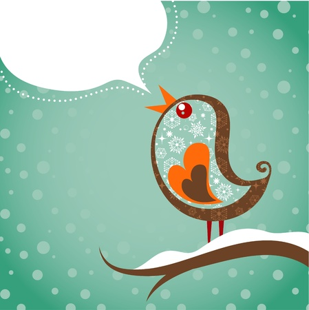 Retro Christmas background with bird Vector