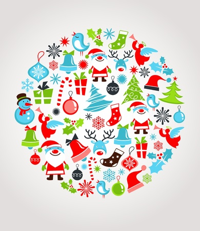 decorated: Christmas background with set of icons Illustration