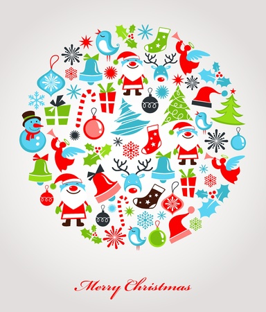 Christmas background with set of icons Illustration
