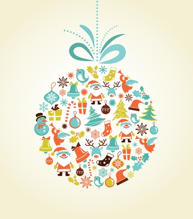 Retro Christmas background with the xmas ball Vector