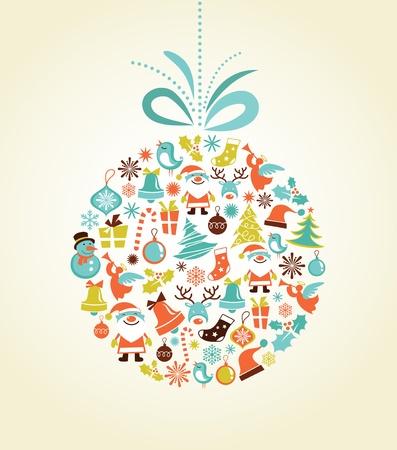 Retro vánoční pozadí s vánoční koule