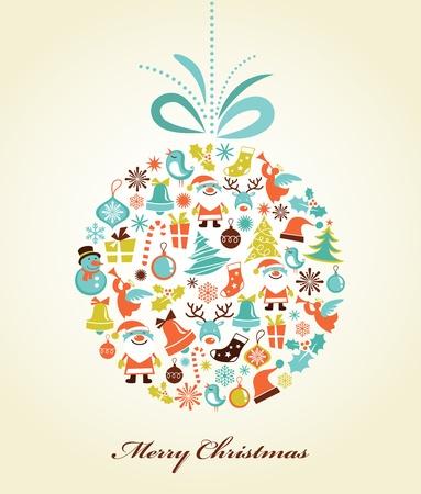 christmas santa: Retro Christmas background with the xmas ball