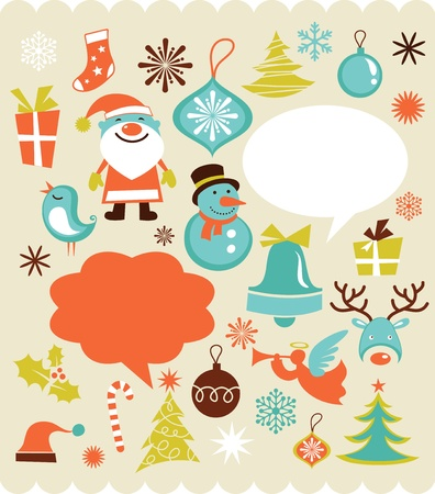 Retro Christmas background with collection of icons Vector