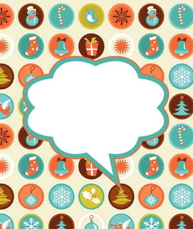 Retro Christmas background with collection of icons Stock Vector - 11037709