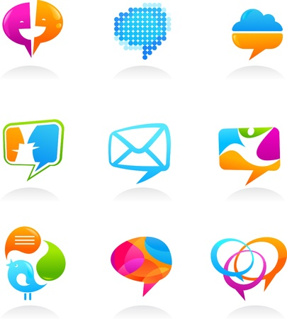 mail icons: Collection of social media and speech bubbles icons
