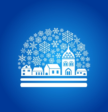 blizzard: snow globe with a town and snowflakes