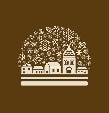 snow globe with a town and snowflakes Vector