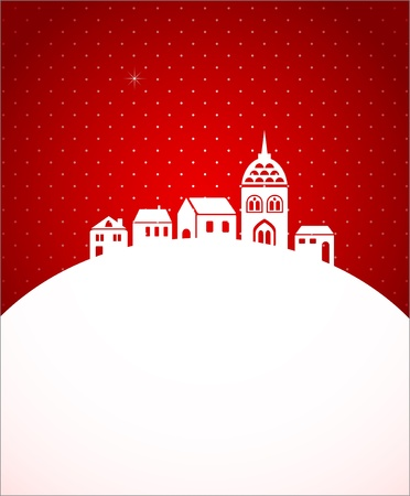 church window: Christmas card with night town and snow