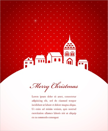Christmas card with night town and snow  Vector