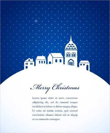 evening church: Christmas card with night town and snow