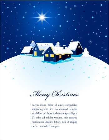 christmas church: Christmas card with night town and snow