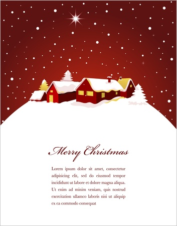 Christmas card with night town and snow Stock Vector - 11037718