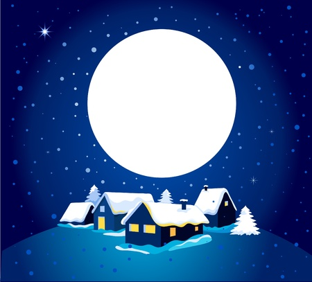 christmas snow: Christmas card with night town and snow