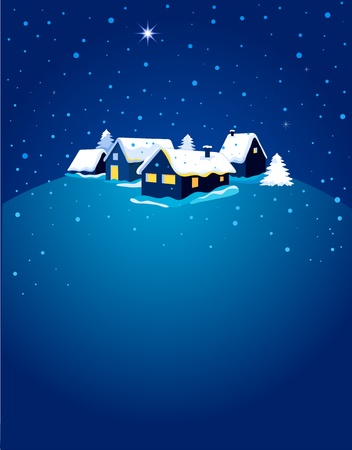 Christmas card with night town and snow Stock Vector - 11037715