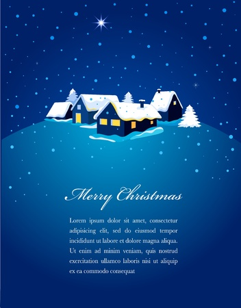 snow house: Christmas card with night town and snow