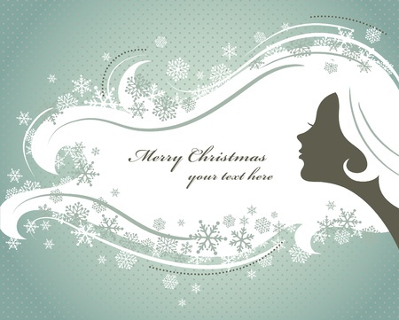 hanging woman: Christmas background with woman silhouette Illustration