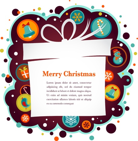 typographic: Christmas background with gift box and cute icons Illustration