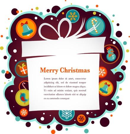 Weihnachten Hintergrund mit Geschenk-Box und hübsch Icons Vektorgrafik