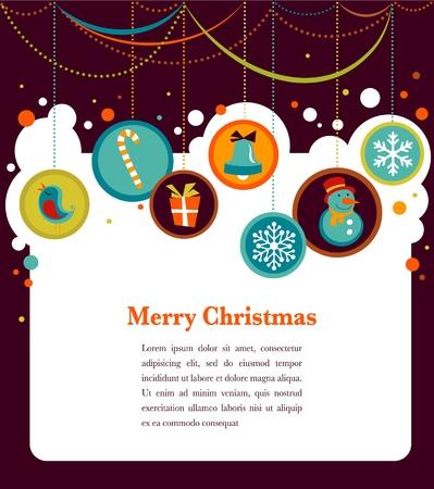 hanging woman: Sfondo Natale con icone carino Vettoriali
