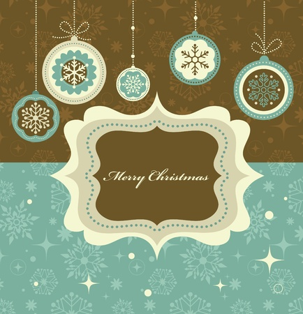 Christmas background with retro pattern and frame Vector