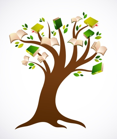 reads: book tree vector ilustration Illustration