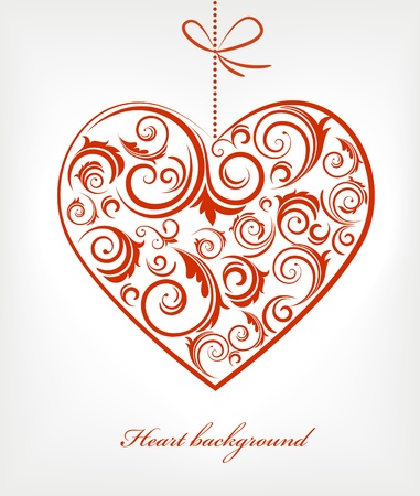 s curve: Retro red patterned heart Stock Photo