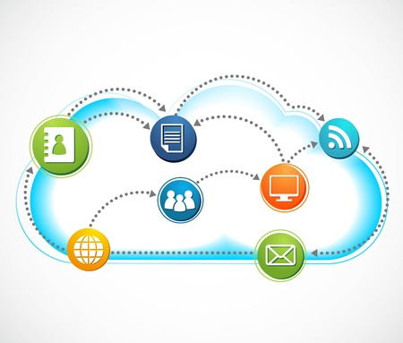 agenda electr�nica: Cloud Internet, imagen vectorial
