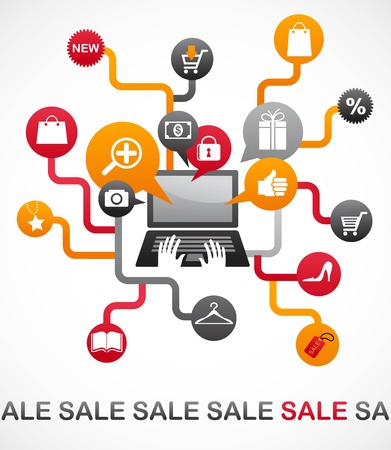 Internet shopping with set of icons Vector