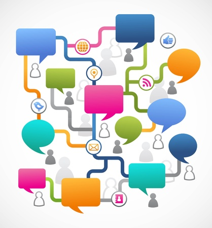 media gadget: Social media image, people with speech bubbles Illustration