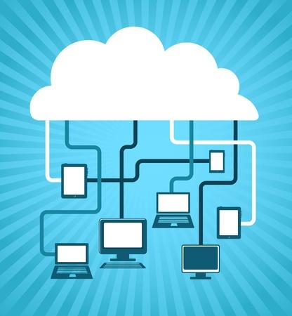 databank: internet wolk, vector afbeelding Stock Illustratie