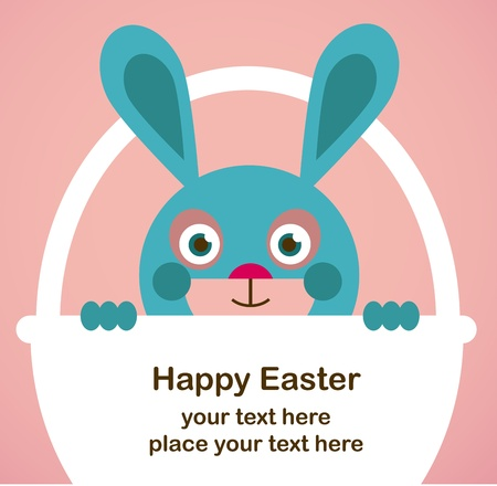 gift basket: Easter greeting card with bunny Illustration