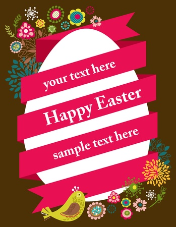 easter basket: Easter greeting card with egg and ribbon Illustration