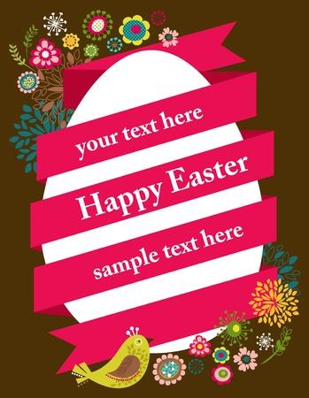 tarjeta amarilla: Tarjeta de felicitaci�n de Pascua con el huevo y la cinta Vectores