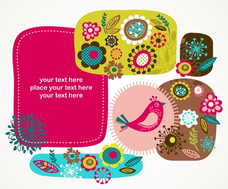 cute border: greeting card with bird and decorative flowers