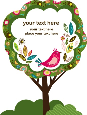 greeting card with bird and tree Vector