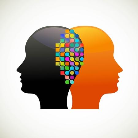 Mensen praten, denken, communiceren Vector Illustratie