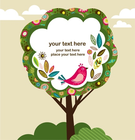 greeting card with bird and tree photo