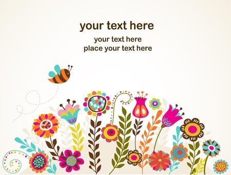les fleur: carte de voeux avec des fleurs Illustration