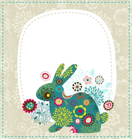 egg plant: Easter greeting card with bunny Illustration