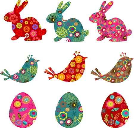 Patterned bunnies, birds and eggs photo