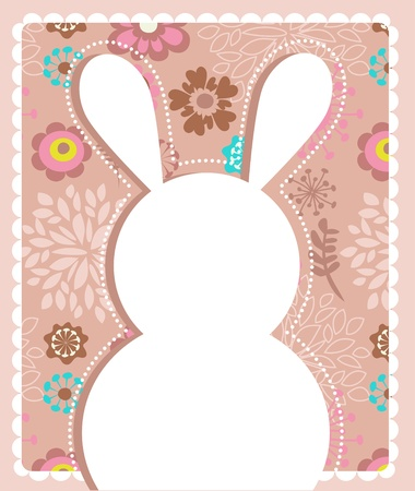 seasonal symbol: Easter greeting card with bunny Illustration