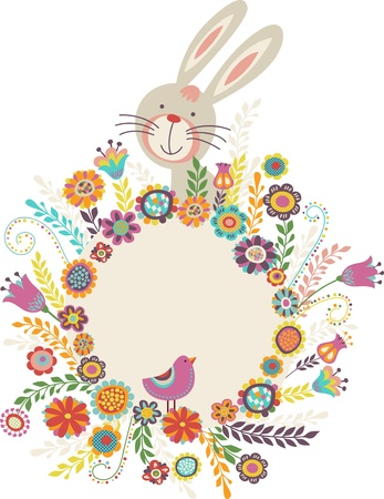 Easter greeting card with bunny Illustration