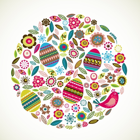 easter decorations: Easter greeting card with flowers Illustration