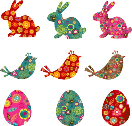 gift basket: Patterned bunnies, birds and eggs