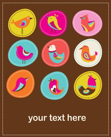 collection of cute decorative birds, greeting card Vector
