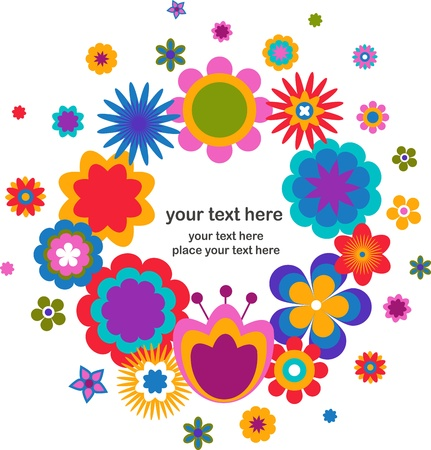 colored eggs: Easter greeting card - wreath with floweres Illustration