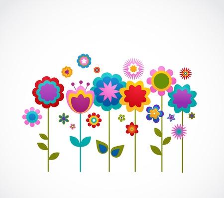 bordures fleurs: carte de voeux avec des fleurs Illustration