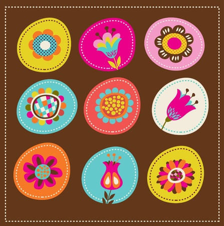collection of cute decorative flowers, greeting card Vector